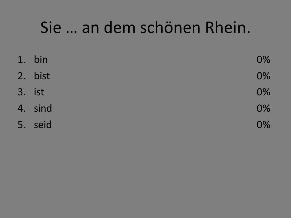 Sie … an dem schönen Rhein. 1.bin 2.bist 3.ist 4.sind 5.seid 0%