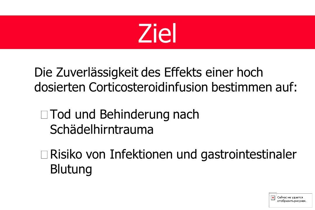 Die Zuverlässigkeit des Effekts einer hoch dosierten Corticosteroidinfusion bestimmen auf: •Tod und Behinderung nach Schädelhirntrauma •Risiko von Infektionen und gastrointestinaler Blutung Ziel