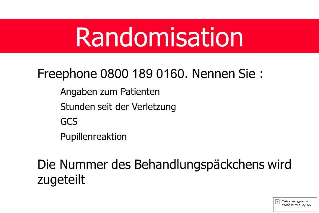 Randomisation Freephone 0800 189 0160.
