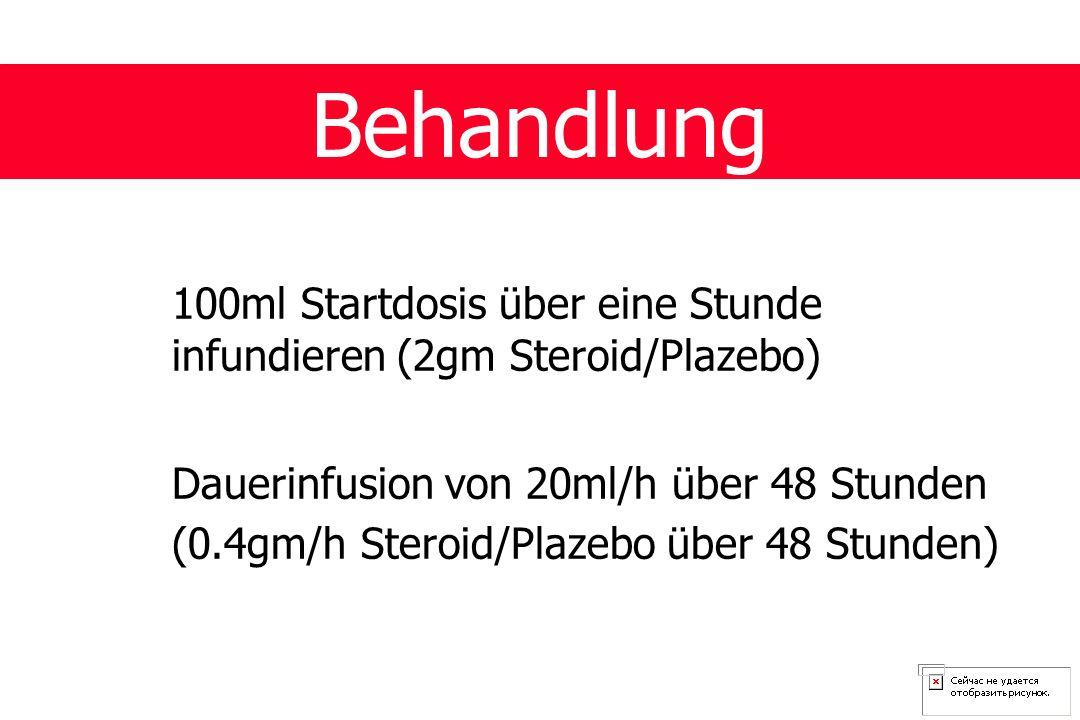 Behandlung 100ml Startdosis über eine Stunde infundieren (2gm Steroid/Plazebo) Dauerinfusion von 20ml/h über 48 Stunden (0.4gm/h Steroid/Plazebo über 48 Stunden)