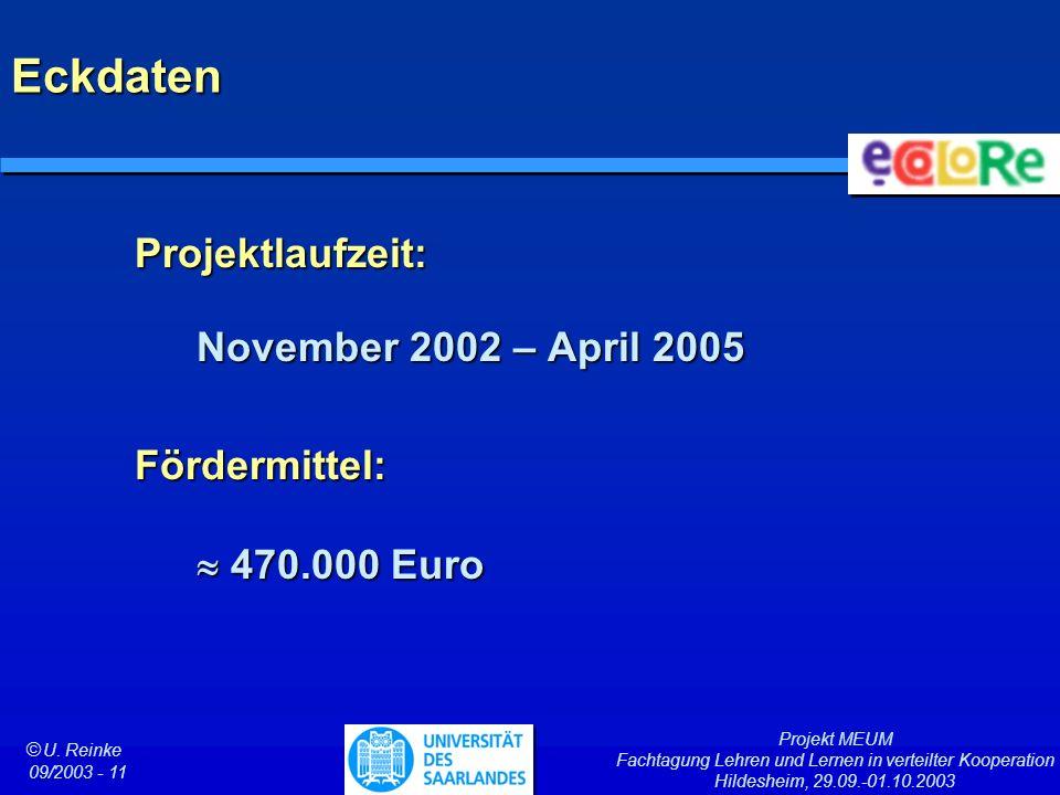 Projekt MEUM Fachtagung Lehren und Lernen in verteilter Kooperation Hildesheim, 29.09.-01.10.2003 ã U. Reinke 09/2003 - 11 Eckdaten Projektlaufzeit: N