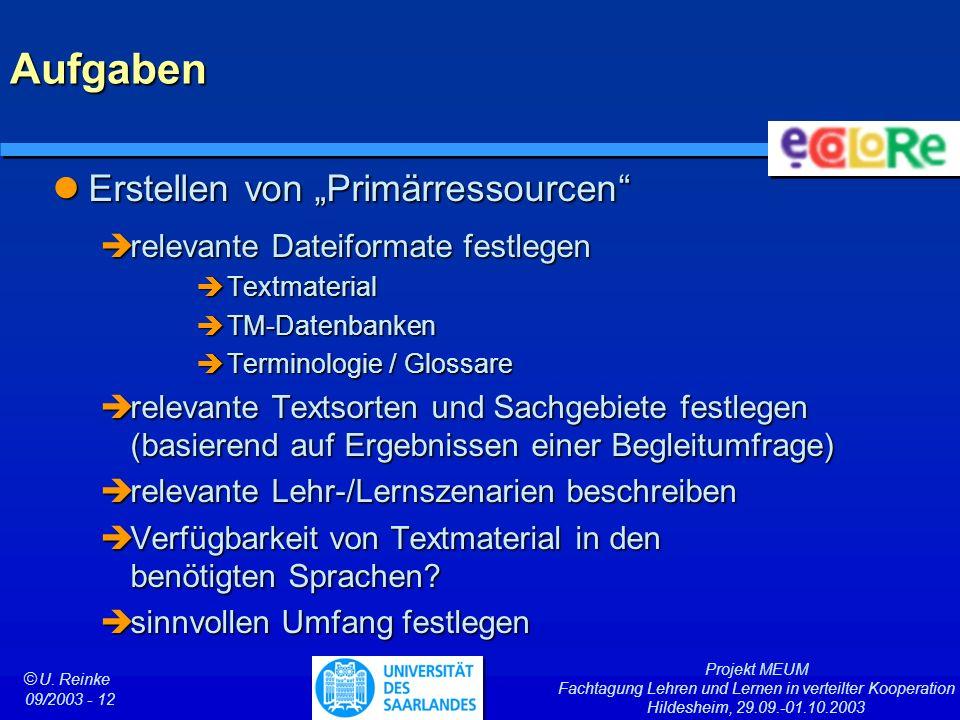 Projekt MEUM Fachtagung Lehren und Lernen in verteilter Kooperation Hildesheim, 29.09.-01.10.2003 ã U. Reinke 09/2003 - 12 Aufgaben Erstellen von Prim