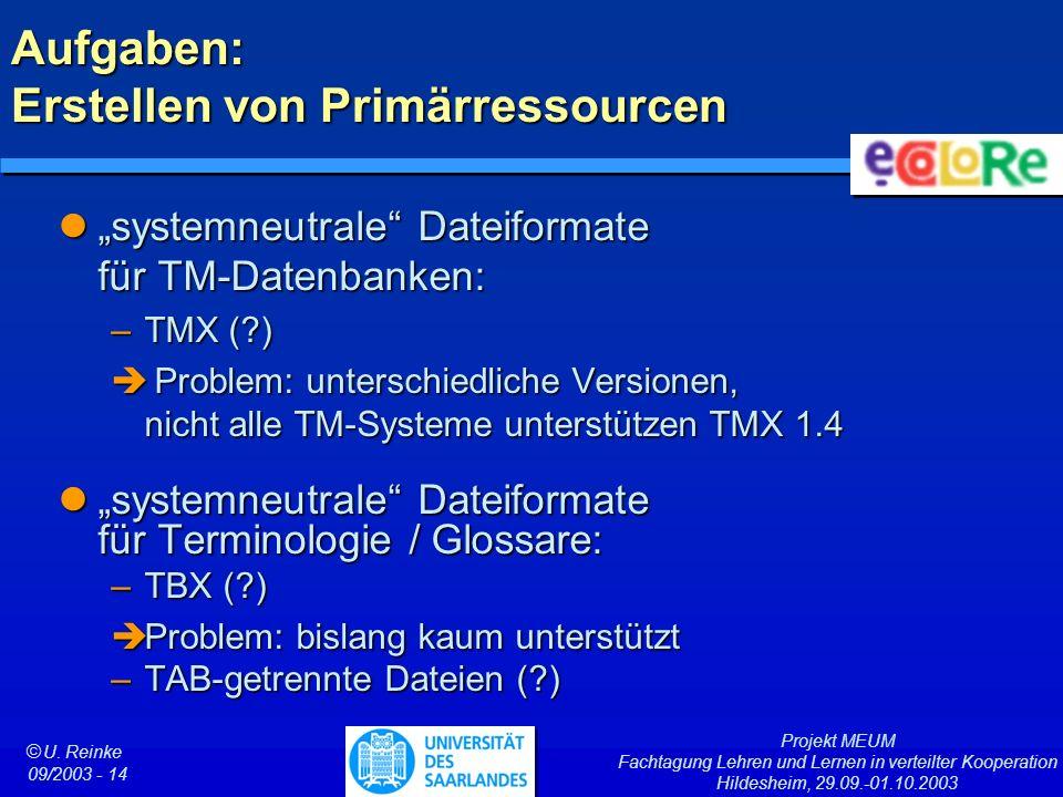 Projekt MEUM Fachtagung Lehren und Lernen in verteilter Kooperation Hildesheim, 29.09.-01.10.2003 ã U. Reinke 09/2003 - 14 Aufgaben: Erstellen von Pri