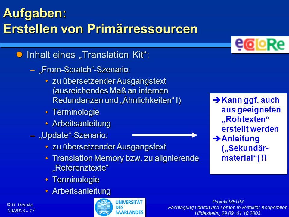 Projekt MEUM Fachtagung Lehren und Lernen in verteilter Kooperation Hildesheim, 29.09.-01.10.2003 ã U. Reinke 09/2003 - 17 Aufgaben: Erstellen von Pri