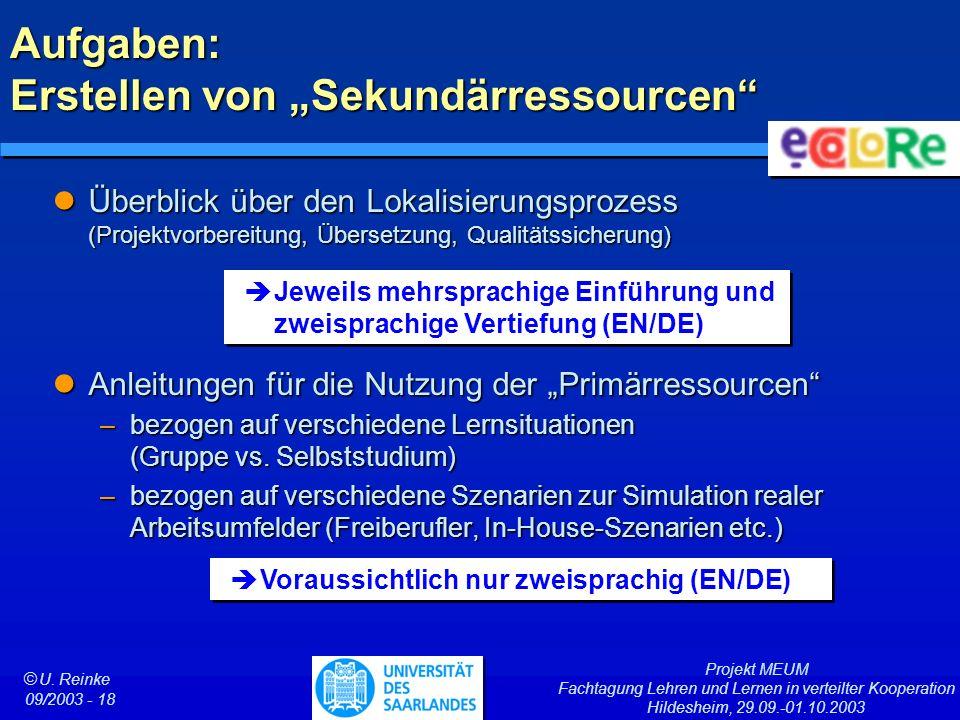 Projekt MEUM Fachtagung Lehren und Lernen in verteilter Kooperation Hildesheim, 29.09.-01.10.2003 ã U. Reinke 09/2003 - 18 Aufgaben: Erstellen von Sek
