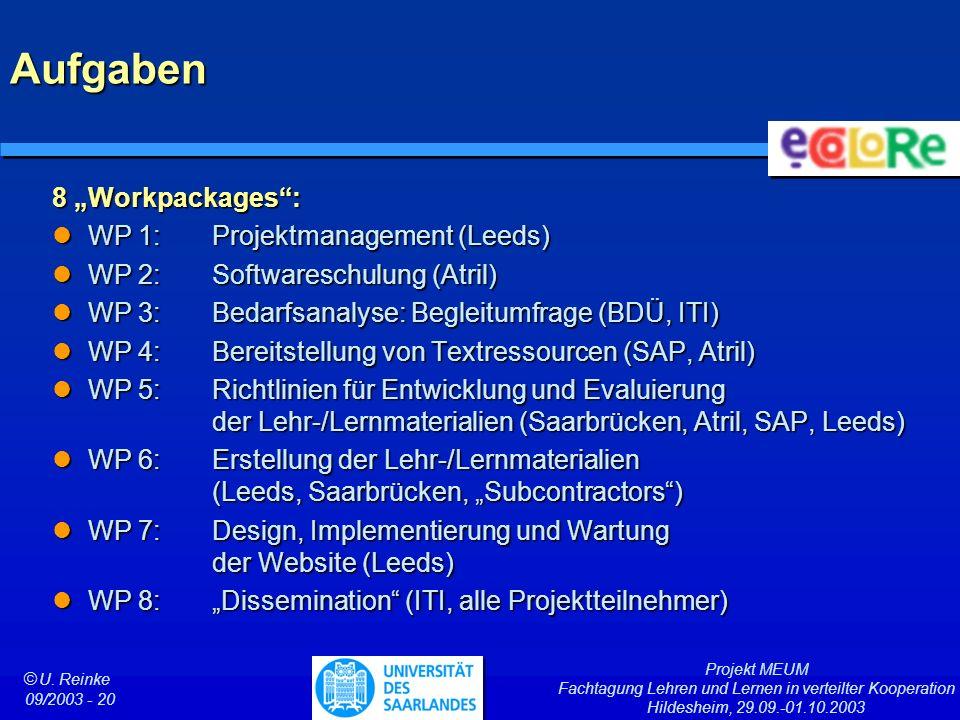 Projekt MEUM Fachtagung Lehren und Lernen in verteilter Kooperation Hildesheim, 29.09.-01.10.2003 ã U. Reinke 09/2003 - 20 Aufgaben 8 Workpackages: WP