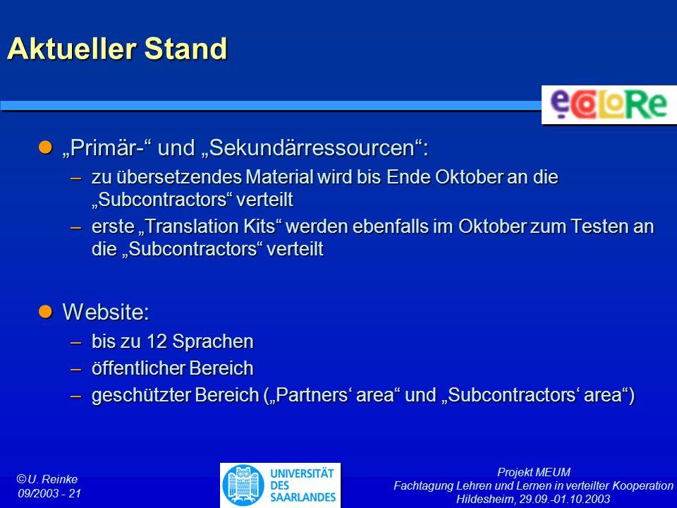 Projekt MEUM Fachtagung Lehren und Lernen in verteilter Kooperation Hildesheim, 29.09.-01.10.2003 ã U. Reinke 09/2003 - 21 Aktueller Stand Primär- und