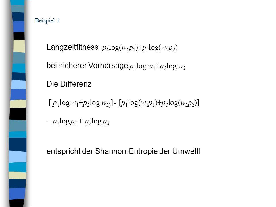 Langzeitfitness p 1 log(w 1 p 1 )+p 2 log(w 2 p 2 ) bei sicherer Vorhersage p 1 log w 1 +p 2 log w 2 Die Differenz [ p 1 log w 1 +p 2 log w 2) ] - [p
