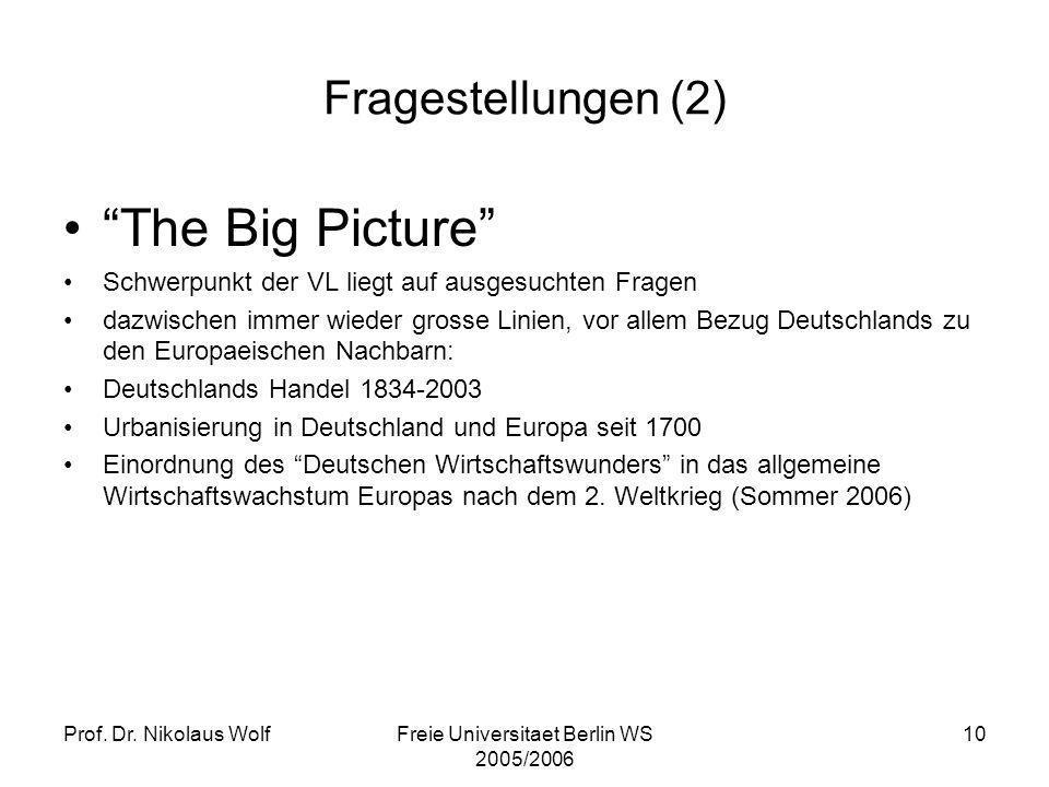 Prof. Dr. Nikolaus WolfFreie Universitaet Berlin WS 2005/2006 10 Fragestellungen (2) The Big Picture Schwerpunkt der VL liegt auf ausgesuchten Fragen