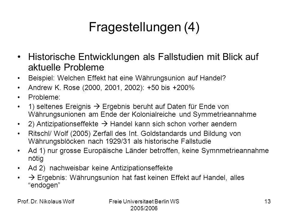 Prof. Dr. Nikolaus WolfFreie Universitaet Berlin WS 2005/2006 13 Fragestellungen (4) Historische Entwicklungen als Fallstudien mit Blick auf aktuelle