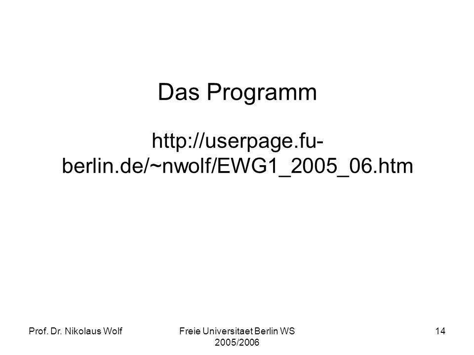 Prof. Dr. Nikolaus WolfFreie Universitaet Berlin WS 2005/2006 14 Das Programm http://userpage.fu- berlin.de/~nwolf/EWG1_2005_06.htm