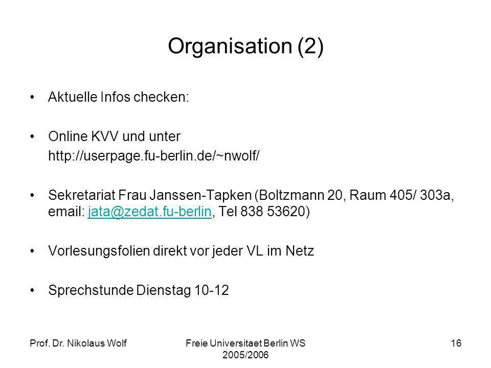 Prof. Dr. Nikolaus WolfFreie Universitaet Berlin WS 2005/2006 16 Organisation (2) Aktuelle Infos checken: Online KVV und unter http://userpage.fu-berl
