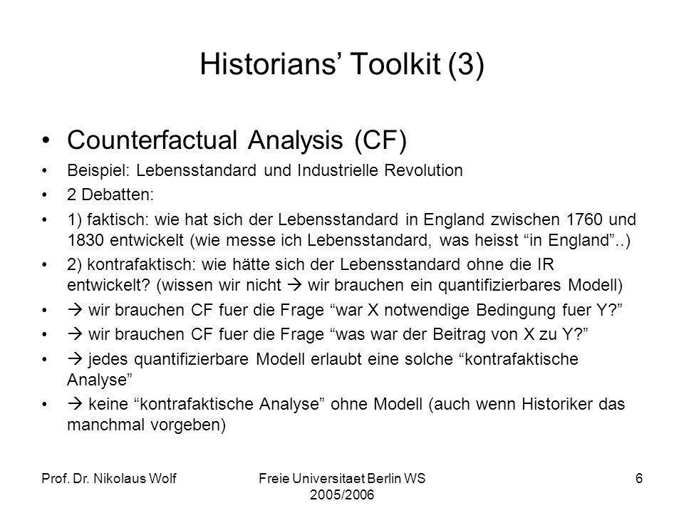 Prof. Dr. Nikolaus WolfFreie Universitaet Berlin WS 2005/2006 6 Historians Toolkit (3) Counterfactual Analysis (CF) Beispiel: Lebensstandard und Indus