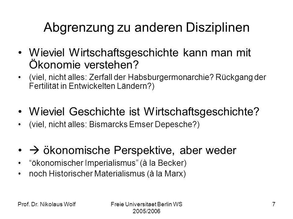 Prof. Dr. Nikolaus WolfFreie Universitaet Berlin WS 2005/2006 7 Wieviel Wirtschaftsgeschichte kann man mit Ökonomie verstehen? (viel, nicht alles: Zer