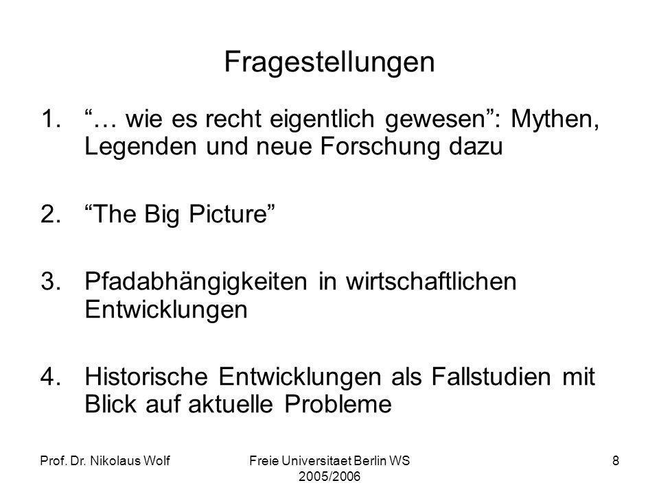Prof. Dr. Nikolaus WolfFreie Universitaet Berlin WS 2005/2006 8 Fragestellungen 1.… wie es recht eigentlich gewesen: Mythen, Legenden und neue Forschu