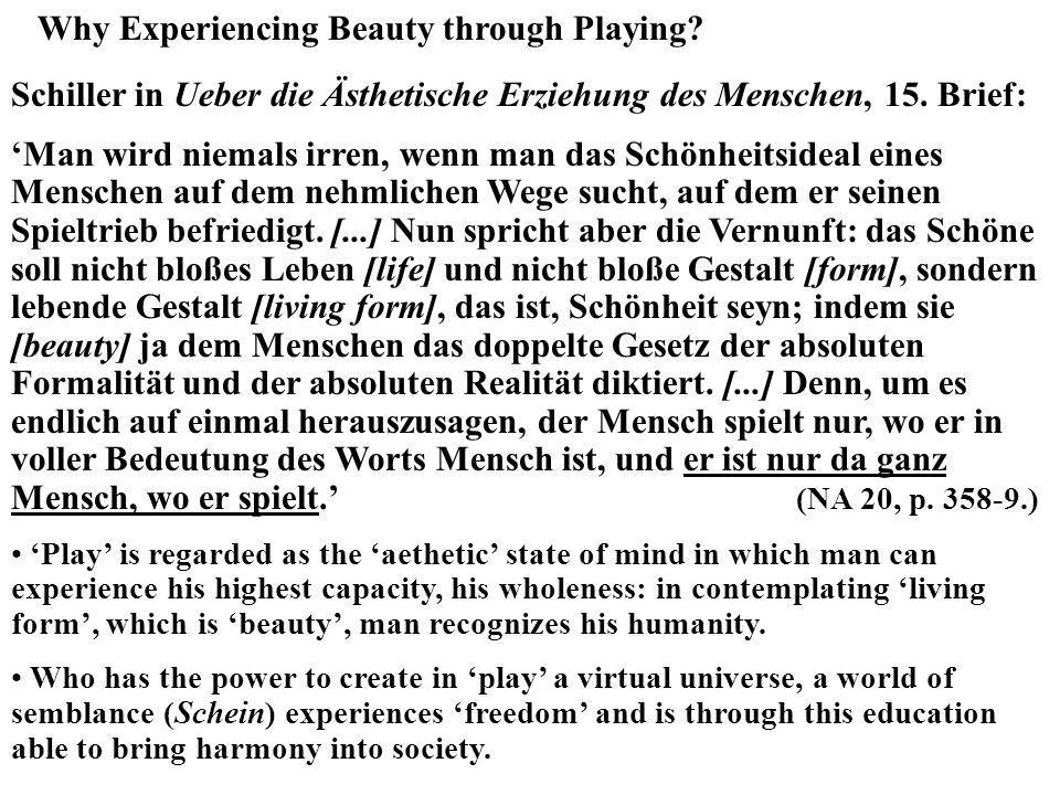 Why Experiencing Beauty through Playing? Schiller in Ueber die Ästhetische Erziehung des Menschen, 15. Brief: Man wird niemals irren, wenn man das Sch