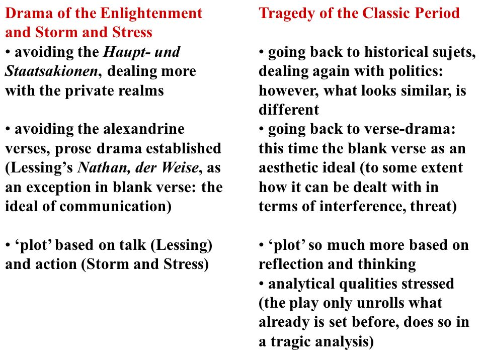Drama of the Enlightenment and Storm and Stress avoiding the Haupt- und Staatsakionen, dealing more with the private realms avoiding the alexandrine v