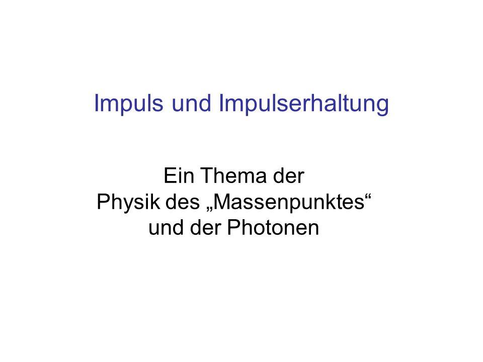 Inhalt Impuls und Kraft Impulserhaltung Energie- und Impulsaustausch zwischen Massen bei elastischem und inelastischem Stoß Stoß zwischen Materie und Photonen