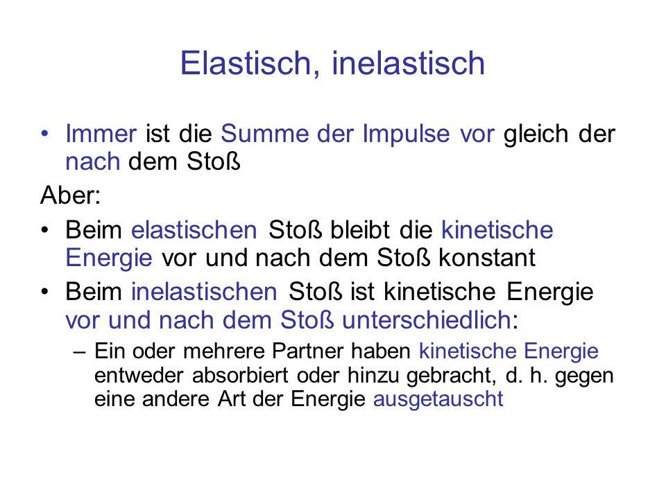 Elastisch, inelastisch Immer ist die Summe der Impulse vor gleich der nach dem Stoß Aber: Beim elastischen Stoß bleibt die kinetische Energie vor und