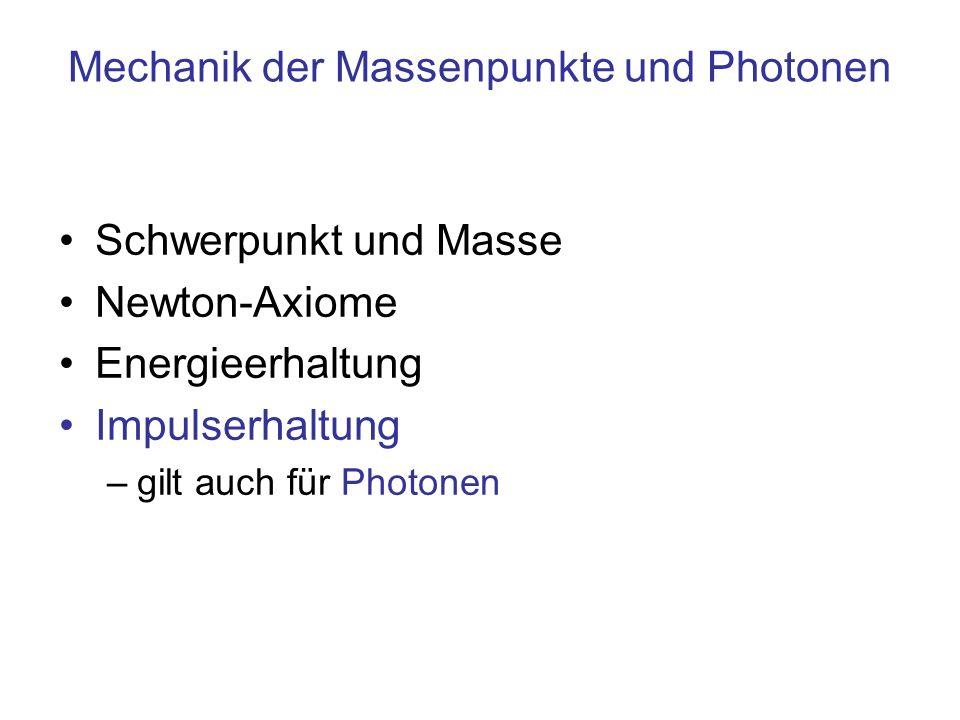 Mechanik der Massenpunkte und Photonen Schwerpunkt und Masse Newton-Axiome Energieerhaltung Impulserhaltung –gilt auch für Photonen