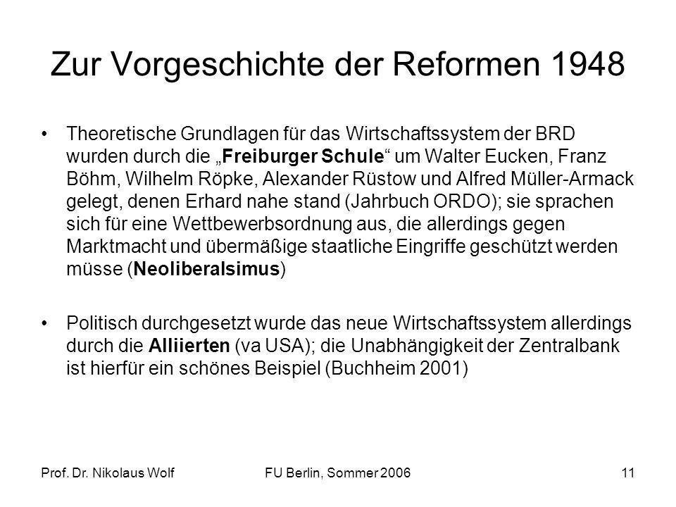 Prof. Dr. Nikolaus WolfFU Berlin, Sommer 200611 Zur Vorgeschichte der Reformen 1948 Theoretische Grundlagen für das Wirtschaftssystem der BRD wurden d