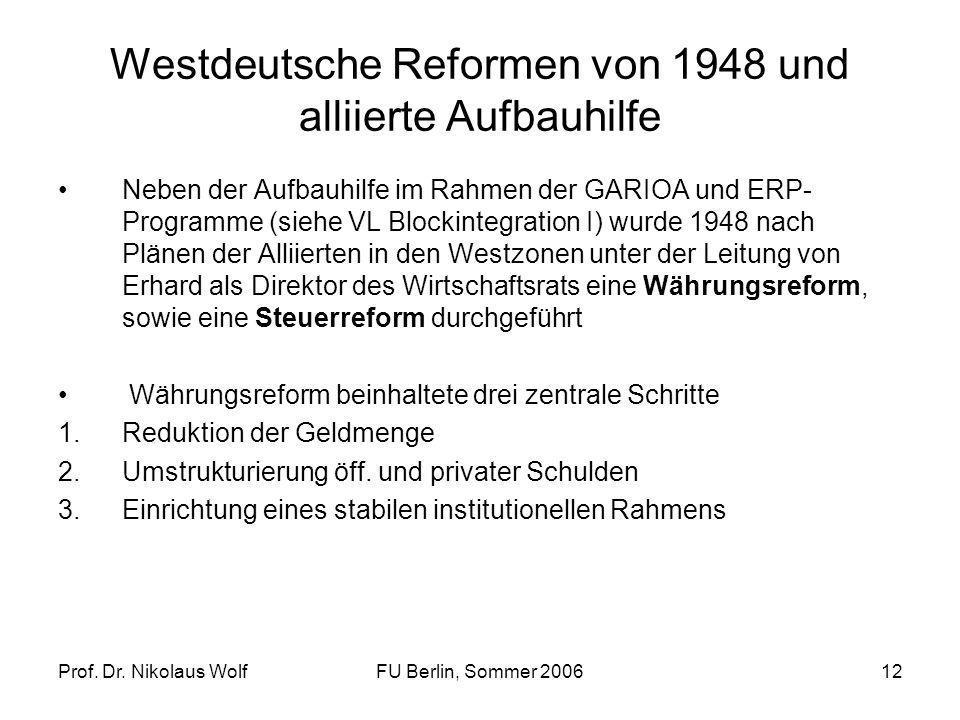 Prof. Dr. Nikolaus WolfFU Berlin, Sommer 200612 Westdeutsche Reformen von 1948 und alliierte Aufbauhilfe Neben der Aufbauhilfe im Rahmen der GARIOA un