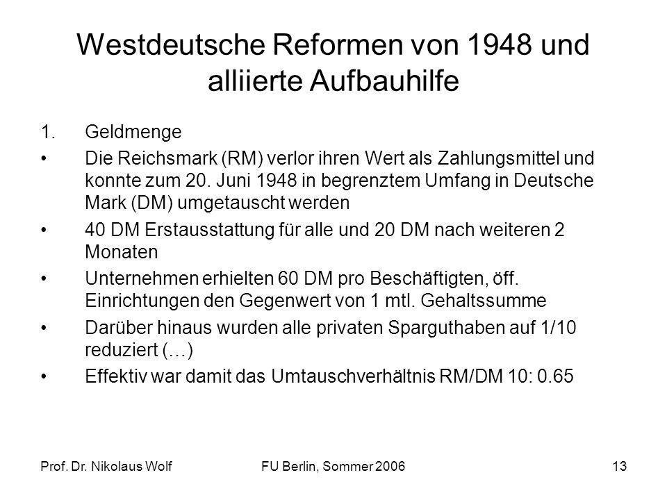 Prof. Dr. Nikolaus WolfFU Berlin, Sommer 200613 Westdeutsche Reformen von 1948 und alliierte Aufbauhilfe 1.Geldmenge Die Reichsmark (RM) verlor ihren
