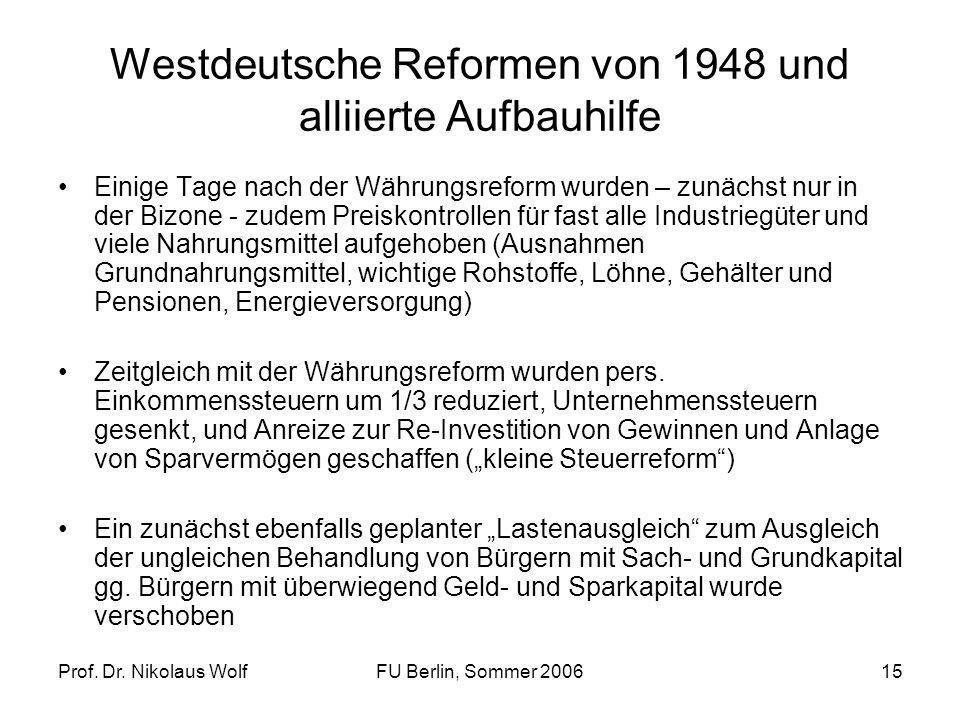 Prof. Dr. Nikolaus WolfFU Berlin, Sommer 200615 Westdeutsche Reformen von 1948 und alliierte Aufbauhilfe Einige Tage nach der Währungsreform wurden –
