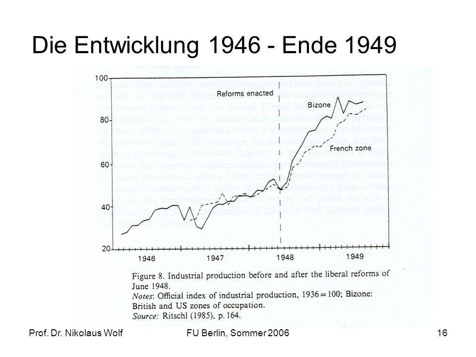 Prof. Dr. Nikolaus WolfFU Berlin, Sommer 200616 Die Entwicklung 1946 - Ende 1949