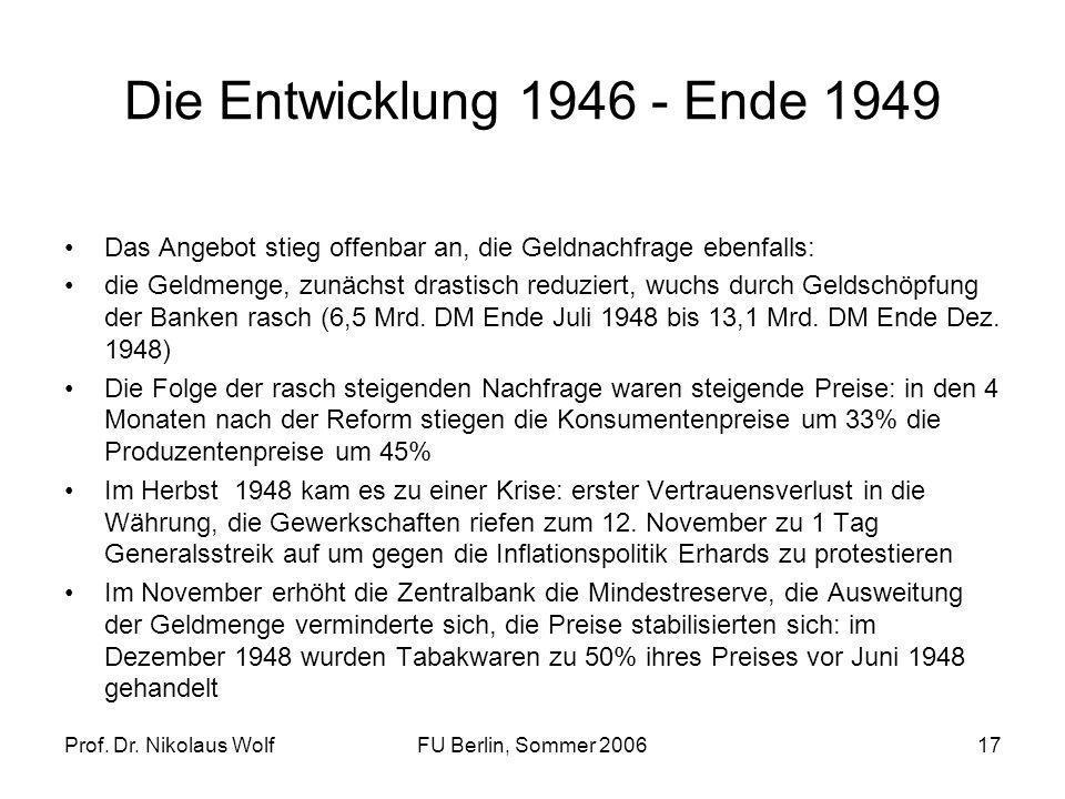 Prof. Dr. Nikolaus WolfFU Berlin, Sommer 200617 Die Entwicklung 1946 - Ende 1949 Das Angebot stieg offenbar an, die Geldnachfrage ebenfalls: die Geldm