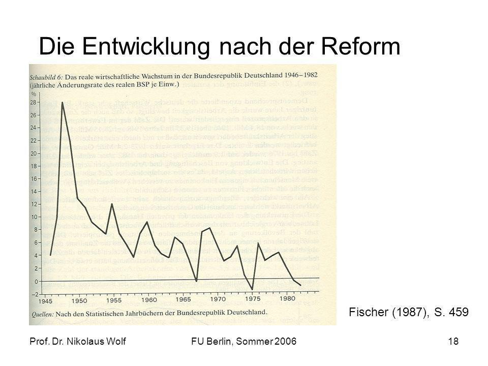 Prof. Dr. Nikolaus WolfFU Berlin, Sommer 200618 Die Entwicklung nach der Reform Fischer (1987), S. 459