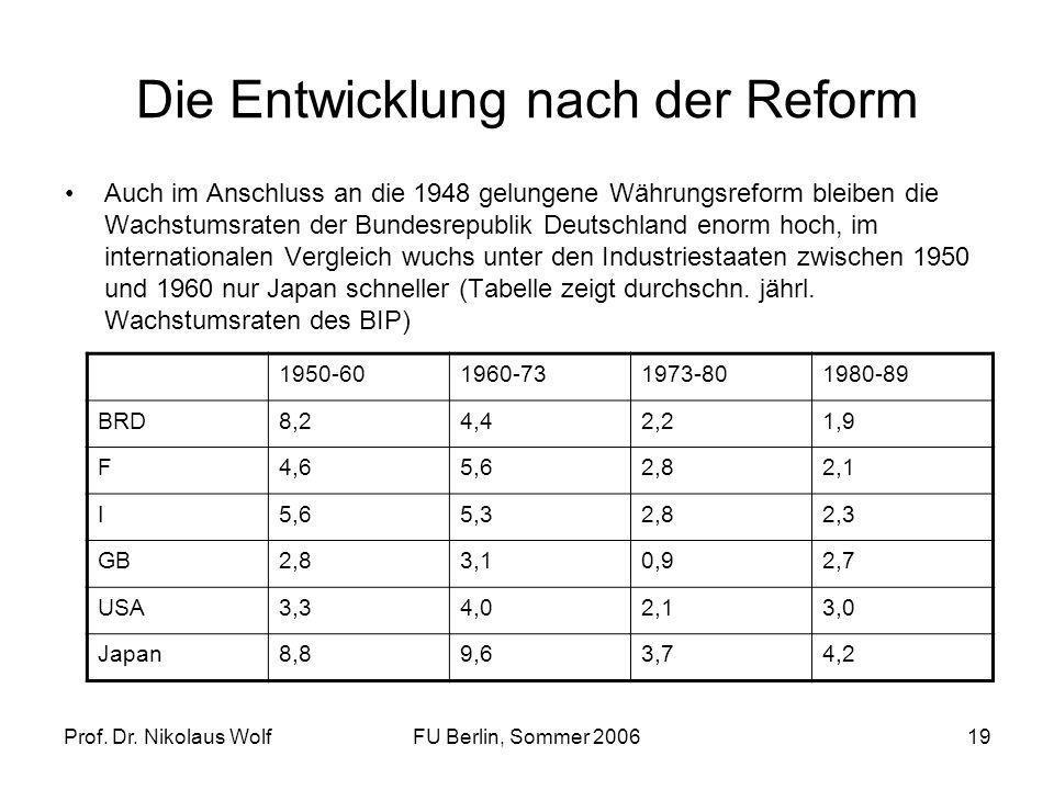 Prof. Dr. Nikolaus WolfFU Berlin, Sommer 200619 Die Entwicklung nach der Reform Auch im Anschluss an die 1948 gelungene Währungsreform bleiben die Wac