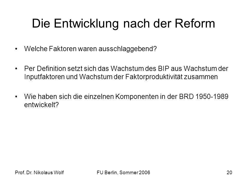 Prof. Dr. Nikolaus WolfFU Berlin, Sommer 200620 Die Entwicklung nach der Reform Welche Faktoren waren ausschlaggebend? Per Definition setzt sich das W