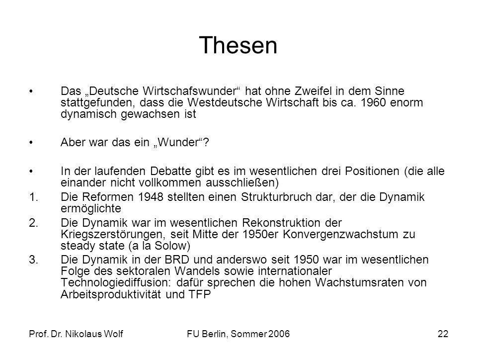 Prof. Dr. Nikolaus WolfFU Berlin, Sommer 200622 Thesen Das Deutsche Wirtschafswunder hat ohne Zweifel in dem Sinne stattgefunden, dass die Westdeutsch