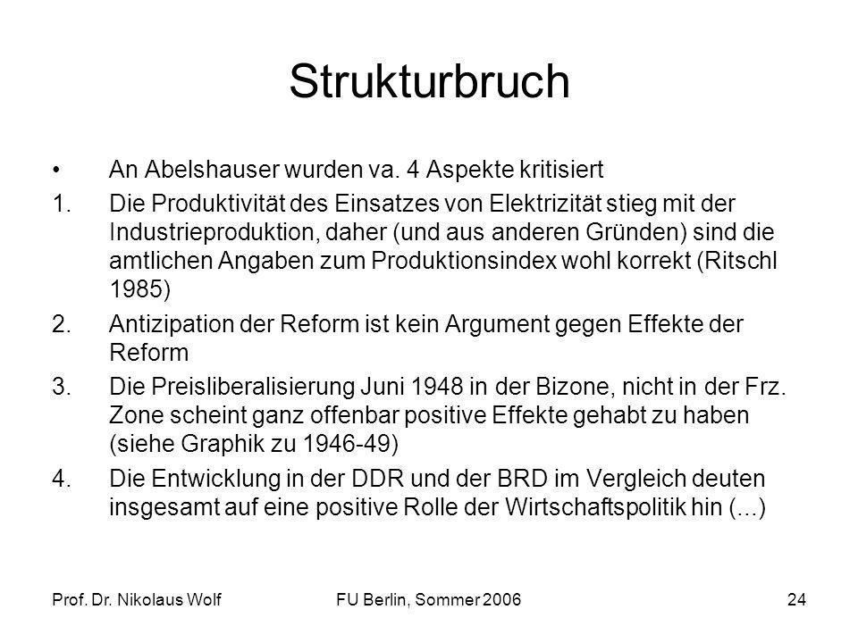 Prof. Dr. Nikolaus WolfFU Berlin, Sommer 200624 Strukturbruch An Abelshauser wurden va. 4 Aspekte kritisiert 1.Die Produktivität des Einsatzes von Ele