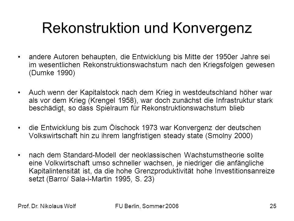 Prof. Dr. Nikolaus WolfFU Berlin, Sommer 200625 Rekonstruktion und Konvergenz andere Autoren behaupten, die Entwicklung bis Mitte der 1950er Jahre sei