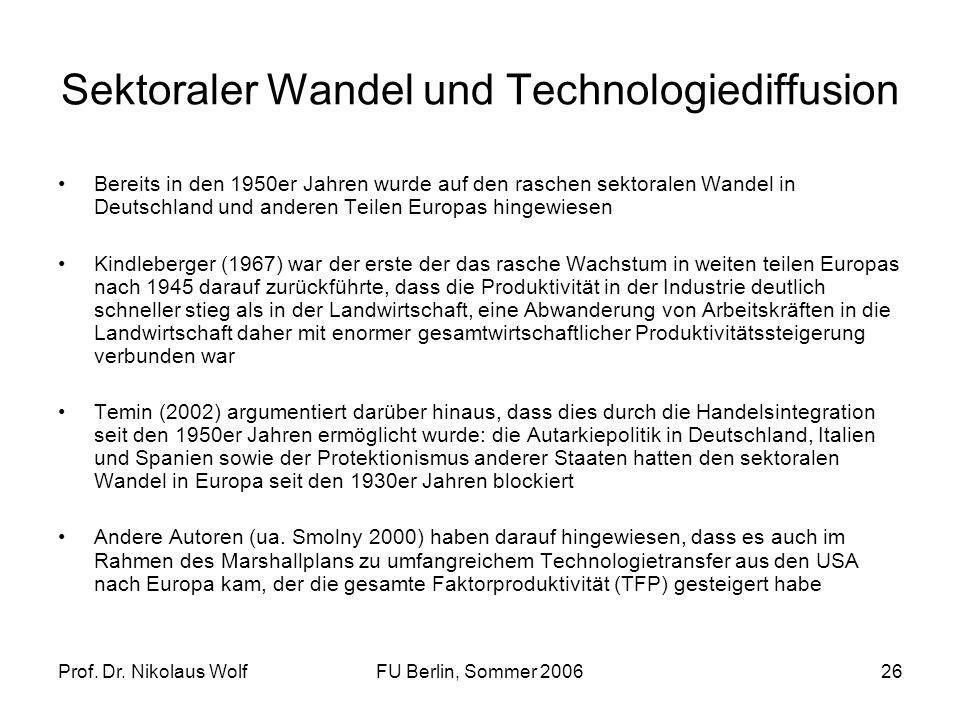 Prof. Dr. Nikolaus WolfFU Berlin, Sommer 200626 Sektoraler Wandel und Technologiediffusion Bereits in den 1950er Jahren wurde auf den raschen sektoral