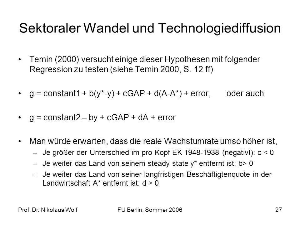Prof. Dr. Nikolaus WolfFU Berlin, Sommer 200627 Sektoraler Wandel und Technologiediffusion Temin (2000) versucht einige dieser Hypothesen mit folgende