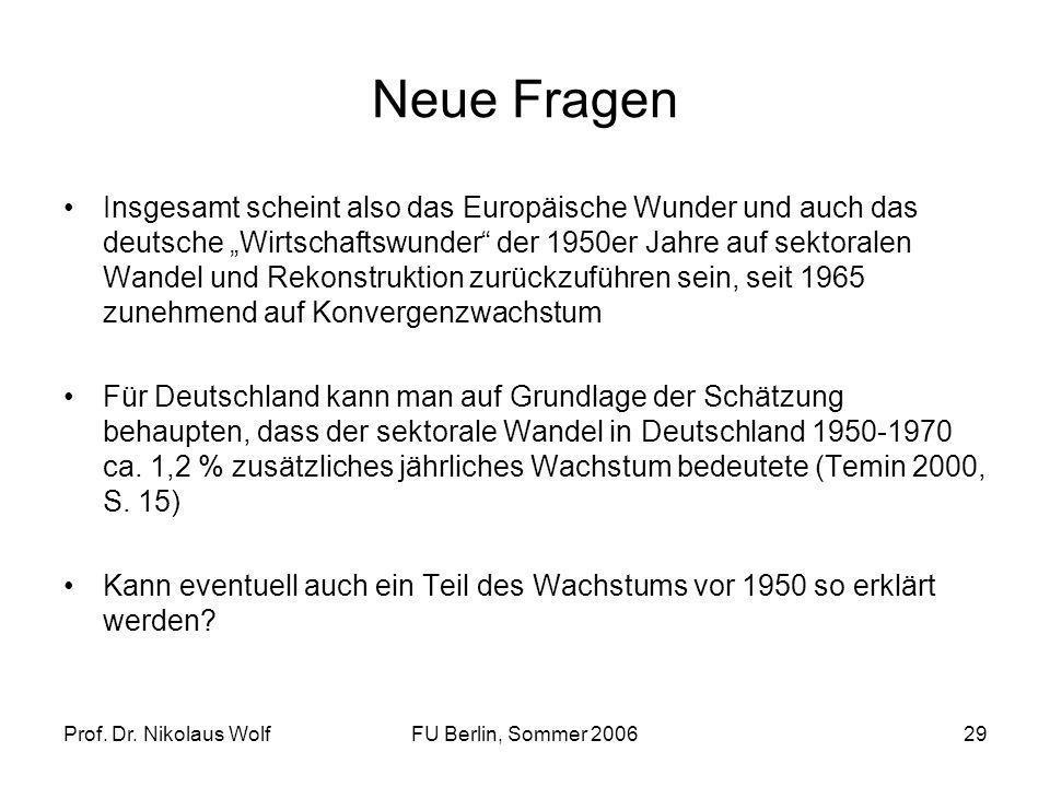 Prof. Dr. Nikolaus WolfFU Berlin, Sommer 200629 Neue Fragen Insgesamt scheint also das Europäische Wunder und auch das deutsche Wirtschaftswunder der