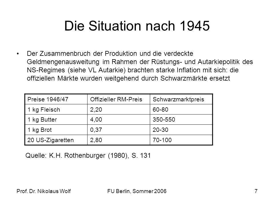Prof. Dr. Nikolaus WolfFU Berlin, Sommer 20067 Die Situation nach 1945 Der Zusammenbruch der Produktion und die verdeckte Geldmengenausweitung im Rahm