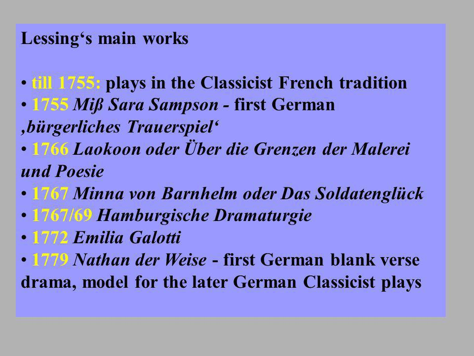 German Drama before Lessing Tragedy: Haupt- und Staatsaktionen - nobility, Ständeklausel, necessity of a Fallhöhe Comedy: Verlachkomödien - lower classes more or less alexandrine based strict keeping to 3 unities: time, place, action/plot Within the Enlightenment: teaching morals according to Tugend- and Lasterkatalog the means: elios and phobos (Aristotle) = fear and terror (Angst und Schrecken) in tragedies German Drama since Lessing Tragedy: Bürgerliches Trauer- spiel - touching domestic drama, mixed characters, gleiche Ranghöhe Comedy: Ernste Komödie - noble and bourgeois characters prose play 3 unities only as a matter of Wirkung: (time, place,) action/plot (Handlung) Creating Sensibility as the purpose of a bourgeois tragedy the means: the compassion a tragic action should produce in an audience - Furcht und Mitleid, Katharsis as Reinigung der Leidenschaften, not von den