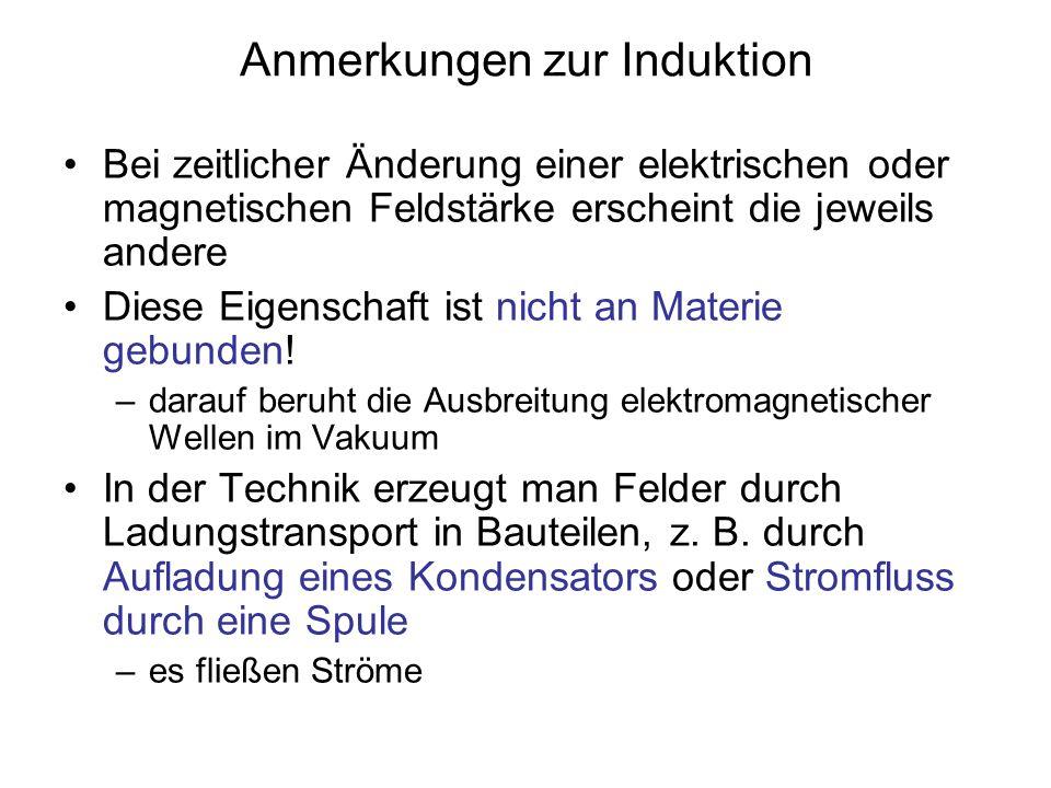 Anmerkungen zur Induktion Bei zeitlicher Änderung einer elektrischen oder magnetischen Feldstärke erscheint die jeweils andere Diese Eigenschaft ist n