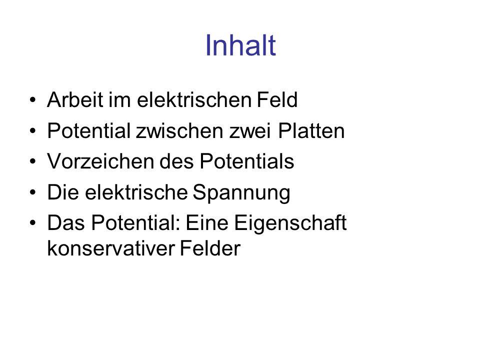 Inhalt Arbeit im elektrischen Feld Potential zwischen zwei Platten Vorzeichen des Potentials Die elektrische Spannung Das Potential: Eine Eigenschaft
