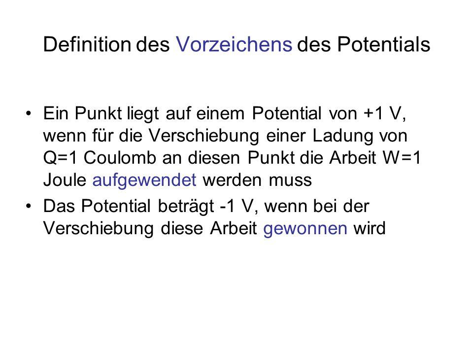 Definition des Vorzeichens des Potentials Ein Punkt liegt auf einem Potential von +1 V, wenn für die Verschiebung einer Ladung von Q=1 Coulomb an dies