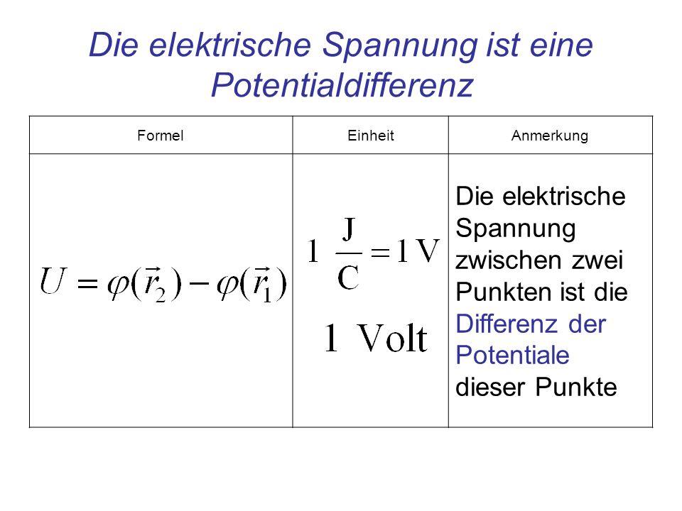 FormelEinheitAnmerkung Die elektrische Spannung zwischen zwei Punkten ist die Differenz der Potentiale dieser Punkte Die elektrische Spannung ist eine