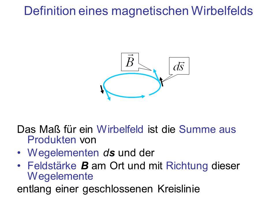 Definition eines magnetischen Wirbelfelds Das Maß für ein Wirbelfeld ist die Summe aus Produkten von Wegelementen ds und der Feldstärke B am Ort und m