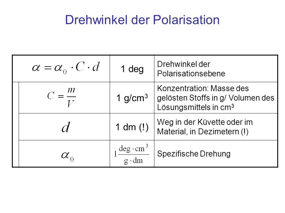 Drehwinkel der Polarisation 1 deg Drehwinkel der Polarisationsebene 1 g/cm 3 Konzentration: Masse des gelösten Stoffs in g/ Volumen des Lösungsmittels