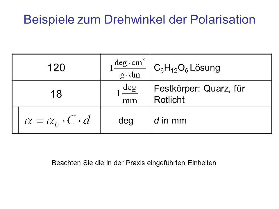 Beispiele zum Drehwinkel der Polarisation 120 C 6 H 12 O 6 Lösung 18 Festkörper: Quarz, für Rotlicht degd in mm Beachten Sie die in der Praxis eingefü