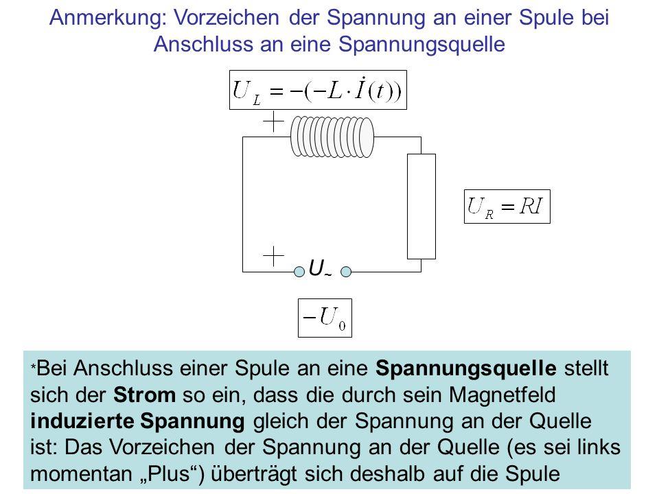 Anmerkung: Vorzeichen der Spannung an einer Spule bei Anschluss an eine Spannungsquelle U~U~ * Bei Anschluss einer Spule an eine Spannungsquelle stell