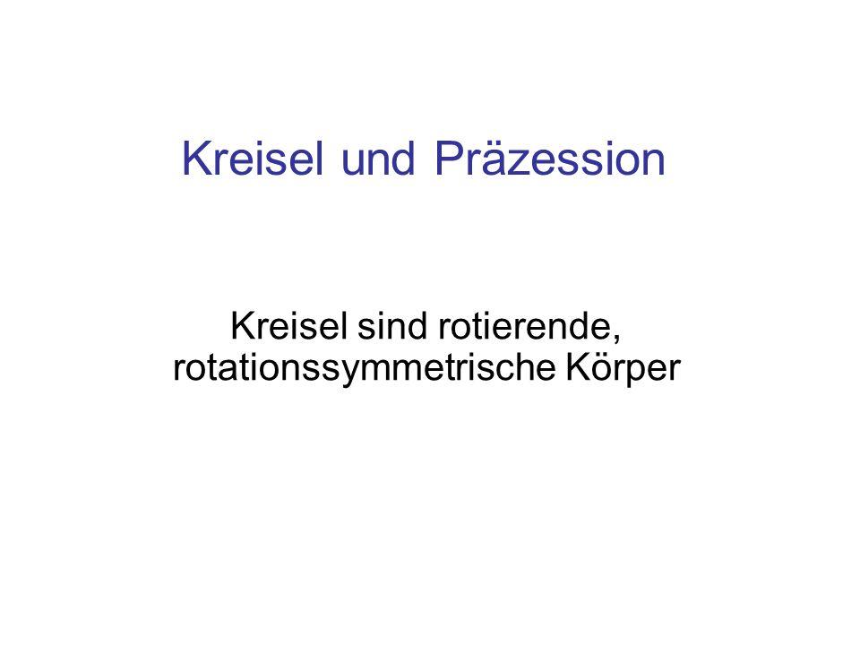 Einteilung der Kreisel Kräftefreie Kreisel Kreisel unter Wirkung eines Drehmoments führen eine Präzessions-Bewegung aus